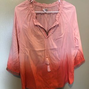 Coral ombre tie top size small like new